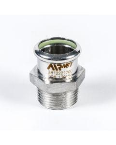 """Nipple Socket Male 316L D42x1 1/4"""" (1 1/2""""x1 1/4"""") ISO7R"""